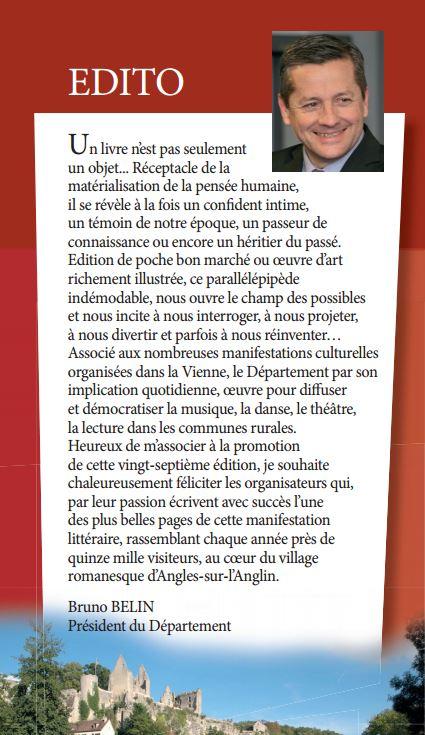 éditorial de Bruno Belin présentant le 27è Festival du livre