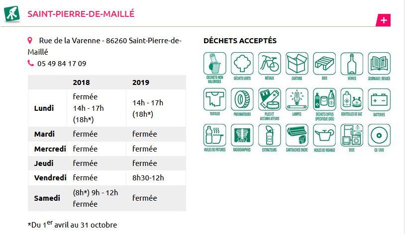 horaires déchetterie St Pierre de Maillé