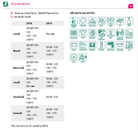horaires déchetterie Pleumartin