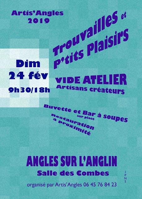 affiche marché d'artisans d'art, salle des combes, 24 février 2019, 9h30 à 18h
